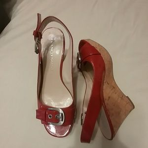 Red petent leather Franco Sarto wedges